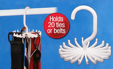 New Adjustable Rotating Tie Belt Hanger Rack Space Saver 20 Ties/Belts Organiser