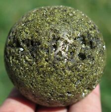 50mm 5.6OZ Natural Green Epidote Cluster Geode Crystal Sphere Ball