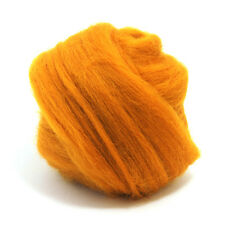 100g DYED MERINO WOOL TOP AMBER ORANGE DREADS 64's SPINNING FELTING ROVING
