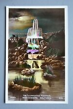 R&L Postcard: The Illuminated Fountain Rock Gardens Southsea, Mills, Moonlight