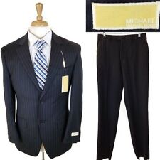 NEW Michael Kors Dark Blue Two Button Striped Wool Suit Size 36S Pants 29X34