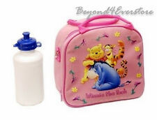 Light Pink Winnie the Pooh Shoulder Strap Insulated Lunch Bag w Water Bottle