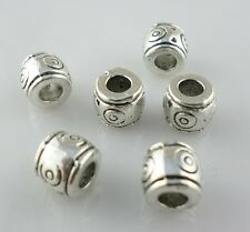 20pcs Tibetan Silver 3mm Hole Charms Tube Spacer Beads 6x7mm Jewelry Beading