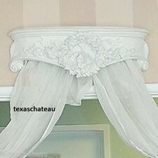 ORNATE SHABBY COTTAGE WHITE BED CROWN WALL CANOPY FRENCH CHIC VINTAGE STYLE NEW