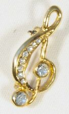 Brooch Small Treble Clef Clear Crystals Gold Musical Gift Present Pin Badge