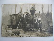 1907 PEOPLE ON TRAIN LOCOMOTIVE, ELROY WISCONSIN REAL PHOTO POSTCARD