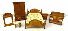 Dolls House Miniature Cottage Bedroom Furniture Set Wooden Walnut 1:12 Scale