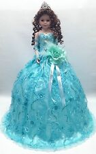 NEW Aqua Blue 28 inch Mis 15 XV Anos Quinceanera Porcelain Party Umbrella Doll