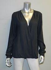 VELVET by GRAHAM & SPENCER NWT Dark Gray Textured Surplice Blouse sz L $152