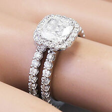 14k Solid White Gold Cushion Cut Diamond Engagement Ring And Band 2.90ctw