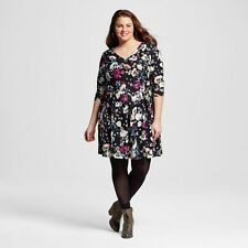 BORN FAMOUS TARGET Women's 3/4 Sleeve Floral Printed Dress Plus 1X NEW