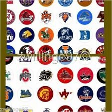 100 Precut assorted COLLEGE SPORTS Teams BOTTLE CAP IMAGES 1 inch discs round