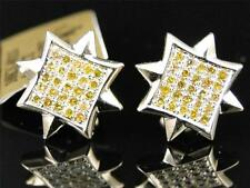 Mens Ladies 10K Yellow Gold Star Shape Canary Diamond Stud Earrings 11mm 1/2 Ct
