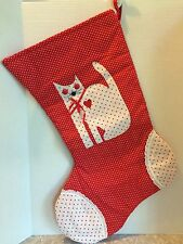 Large Handmade Quilted Kitty Cat Christmas Stocking Red Hearts