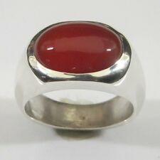 MJG STERLING SILVER MEN'S RING.14 x 10mm OVAL CARNELIAN. SZ 10.