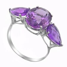 De Buman 2.4ct.Amethyst Ring in 10K Solid White Gold with Diamond Size 7.25