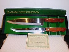"Vintage Maxam Steel  9"" Chef & 8"" Carving Knive Set    Japan"
