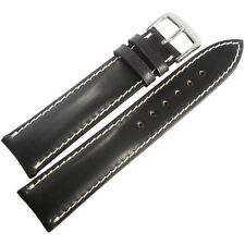 20mm Rios New York Black Padded Shell Cordovan Leather German Watch Band Strap