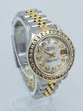 ♛ Rolex DateJust 69173 Custom Diamond Bezel & MOP Dial 18K Gold Steel 26mm Watch
