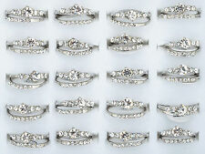 8 Sets Wholesale Lots Wedding Engagement Ring Silver Platerd White Crystal New
