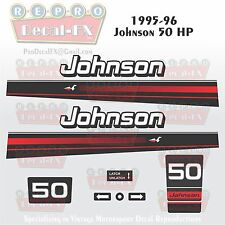 1995-96 Johnson 50 HP Outboard Reproduction 10 Pc Marine Vinyl Decals 2 Cylinder