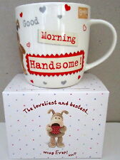 """""""BOOFLE"""" CHINA MUG """"GOOD MORNING HANDSOME!"""" GIFT BOXED CUTE VALENTINE'S DAY GIFT"""