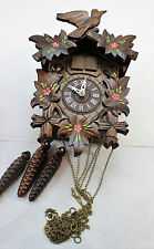 German Made Cuckoo Clock Carved Wood Painted Bird Regula Black Forest 3 Weights