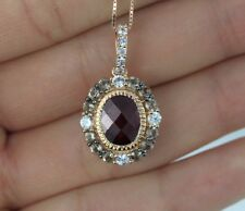 $2,400 LeVian 14K Rose Gold Chocolate Quartz Sapphire Garnet Pendant Necklace