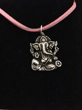 Ganesh R205 English Pewter Emblem on a Pink Cord Necklace Handmade