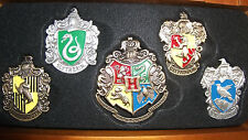 Harry Potter Hogwarts Pin Set House Crest 5 REAL PINS Collectors Case GRYFFINDOR