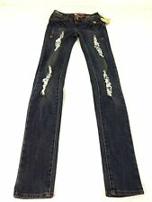NWT APPLE BOTTOMS WOMENS BLUE DARK WASH DESTROYED SKINNY JEANS SIZE 1/2 CUTE!