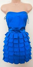NEW LOOK BLUE RUFFFLE FRILL SKATER PROM PARTY BANDEAU FRILLY RARE DRESS 10 S