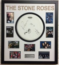 The Stone Roses FRAMED Signed Drumskin BROWN SQUIRE MANI & RENI AFTAL COA (F)