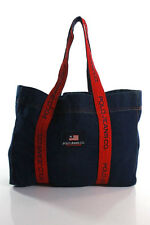 Polo Ralph Lauren Blue Denim Tote Handbag Size Large