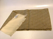 LOVELY MAUREEN BENUN FOR VERA STUDIO ALL WOOL SCARF BROWN/CREAM MADE IN JAPAN