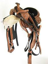 "WESTERN GAITED HORSE SADDLE PKG TAN 16"" - TOOLED/CARVED BLACK SEAT (1050)"