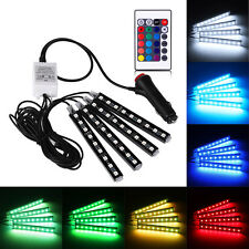 4x 9LED Remote Control Colorful RGB Car Interior Floor Atmosphere Light Strip FS
