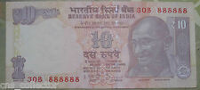 10 Rs. INDIA Note Solid Fancy Number 888888, Subbarao 2013, INSET M, RARE!!!
