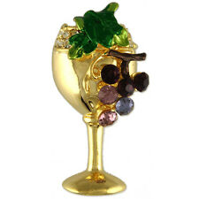 GOLD PLATED CRYSTAL WINE GLASS GRAPES BROOCH PIN MADE WITH SWAROVSKI ELEMENTS