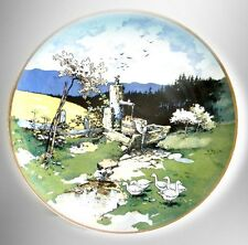 Villeroy Boch Mettlach LARGE plaque charger with signed farm scene FREE SHIPPING