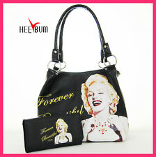 Marilyn Monroe Handbag & Wallet Set , Women Girl Fashion Shoulder Bag Tote Purse