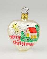 German Merry Christmas Ornament Mercury Glass Heart Shaped Church Germany Tree