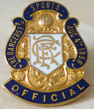 RANGERS FC Very rare OFFICIAL SPORTS CLUB Badge 04-08-1956 Maker VAUGHTONS B'ham