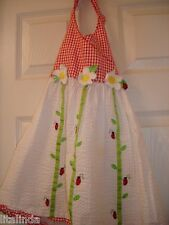 SUMMER GIRL DRESS HALTER WHITE AND PLAID RED SEERSUCKER WITHBUMBLE BEE PRE-OWNED