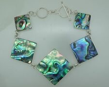 a GREEN ABALONE Shell (New Zealand Paual) Link/Chain Bracelet in 925 Silver