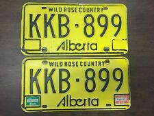 1983/1984 Alberta License Plates Matched Pair KKB-899 Vintage Yellow Commercial