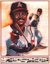 SPORTS POSTER~California Angels 1983 Rod Carew Reggie Jackson 2-Sided Original~