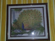 peacock cross stitch with a 40 by 40 inch wooden frame