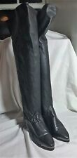 Vintage ZODIAC BLACK LEATHER THIGH HIGH BOOTS SIZE 6 M OVER THE KNEE SHOES WOMEN