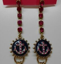 Betsey Johnson $55 Ivy League Anchor Cameo Multi Chain Pink Crystal Earrings